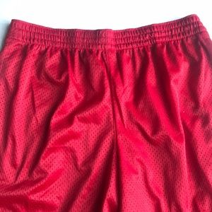 Red workout shorts